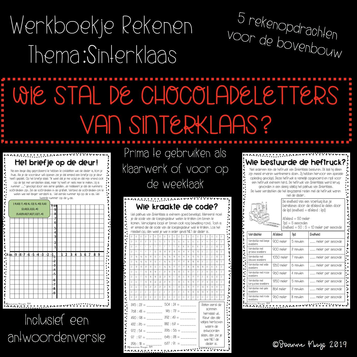 Werkboekje rekenen: thema Sinterklaas voor de bovenbouw