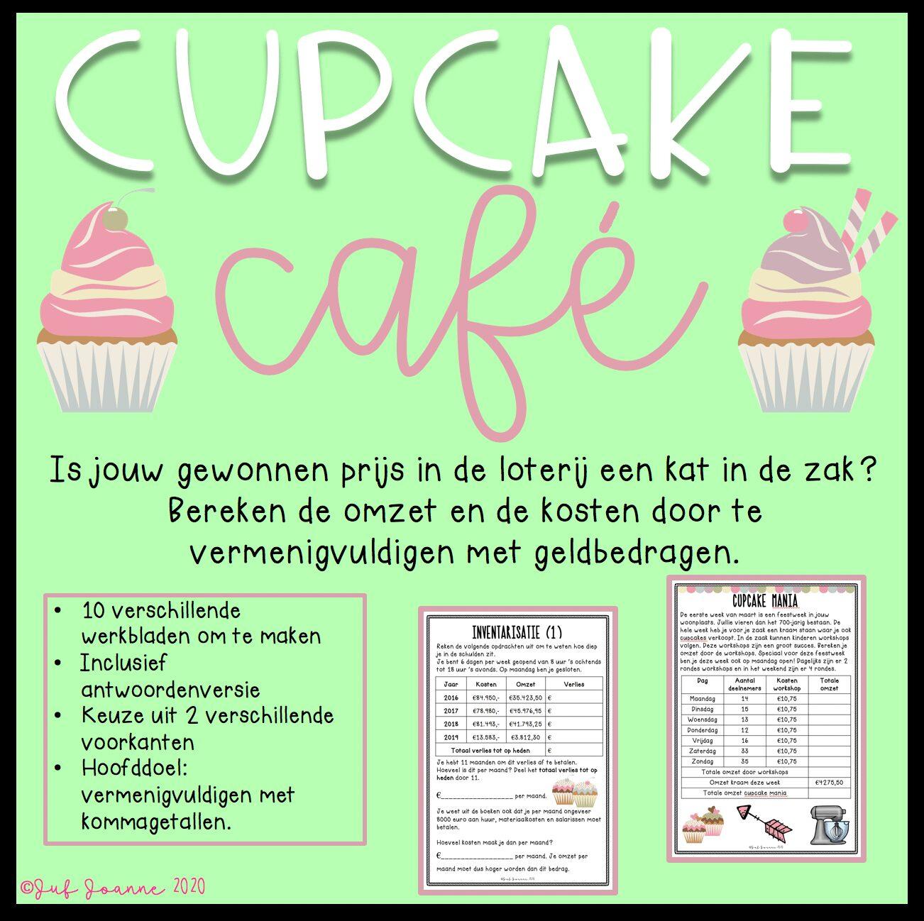 Cupcake café (vermenigvuldigen met kommagetallen)
